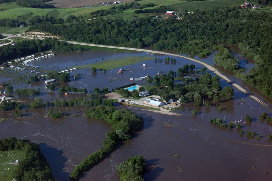 2008 Flood - Elkader Park Aerial